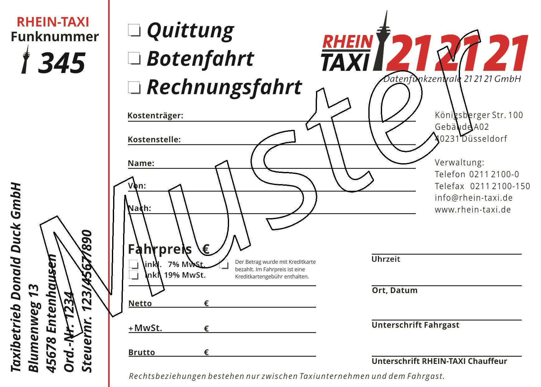 Muster einer Quittung von Rhein-Taxi