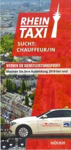 Flyer Rhein Taxi Ausbildung ChauffeurIn